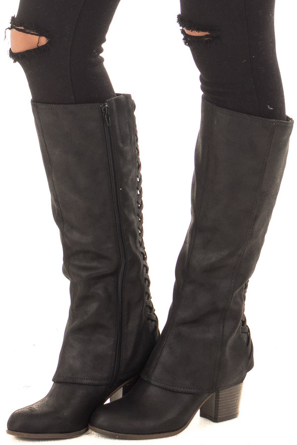 Black Faux Leather Overlay Boot with Braided Back Detail front side view