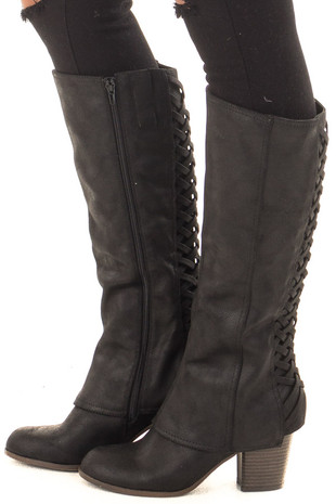 Black Faux Leather Overlay Boot with Braided Back Detail side view