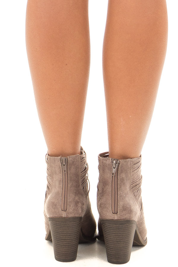 Doe Grey Faux Leather Bootie with Strappy Front Detail back view