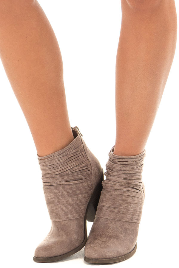 Doe Grey Faux Leather Bootie with Strappy Front Detail front view