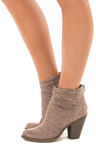 Doe Grey Faux Leather Bootie with Strappy Front Detail side view