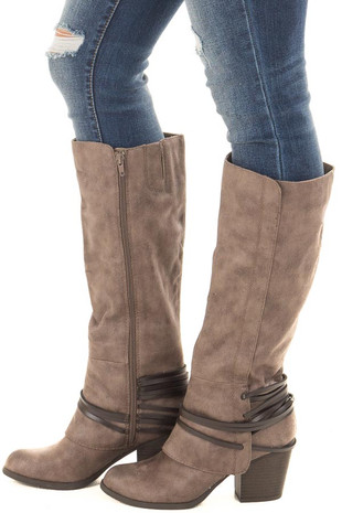 Taupe Faux Leather Boot with Strappy Ankle Detail side view