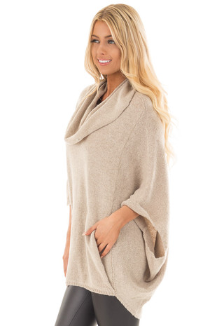 Oatmeal Poncho Style Top with Pocket and Cowl Neck side close up