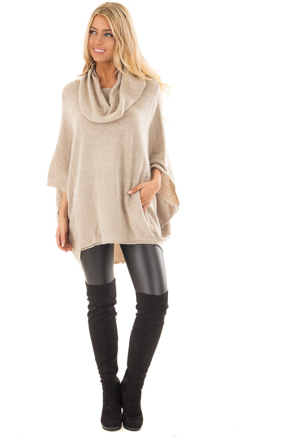 Oatmeal Poncho Style Top with Pocket and Cowl Neck | Lime Lush