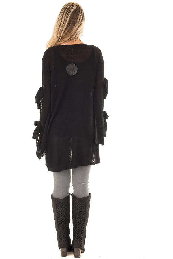 Black Sweater with Cut Out Sleeves and Arm Ties back full body