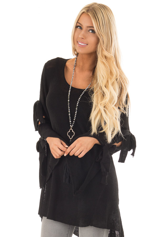 Black Sweater with Cut Out Sleeves and Arm Ties front close up