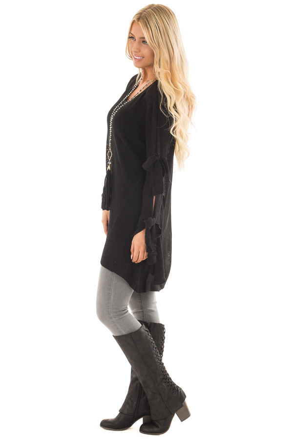 Black Sweater with Cut Out Sleeves and Arm Ties side full body