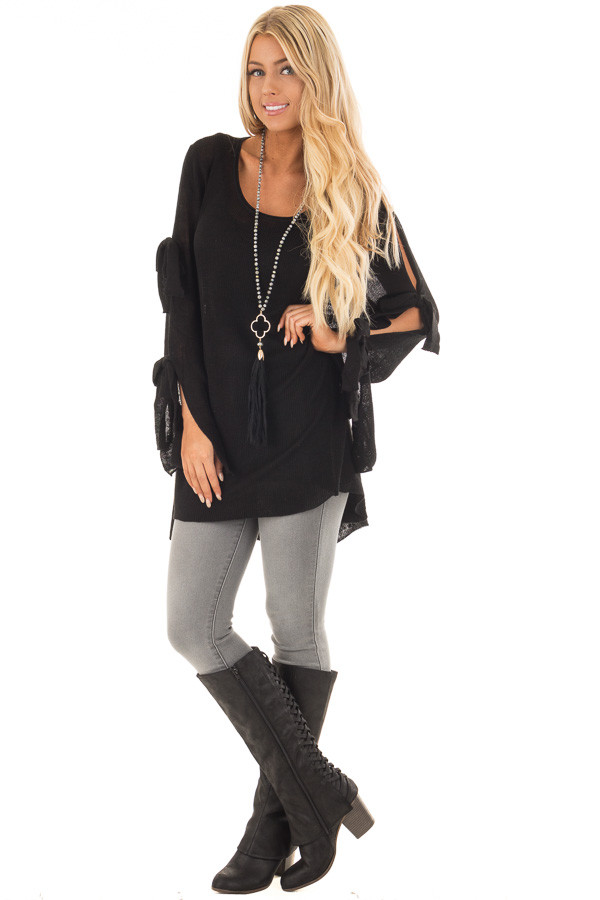 Black Sweater with Cut Out Sleeves and Arm Ties front full body