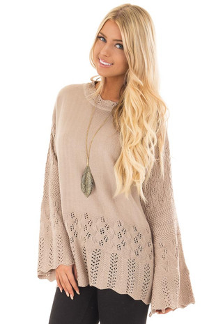 Latte Long Sleeve Sweater with Sheer Crochet Details front close up