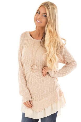 Oatmeal Knit Sweater with Beige Trim Contrast front close up