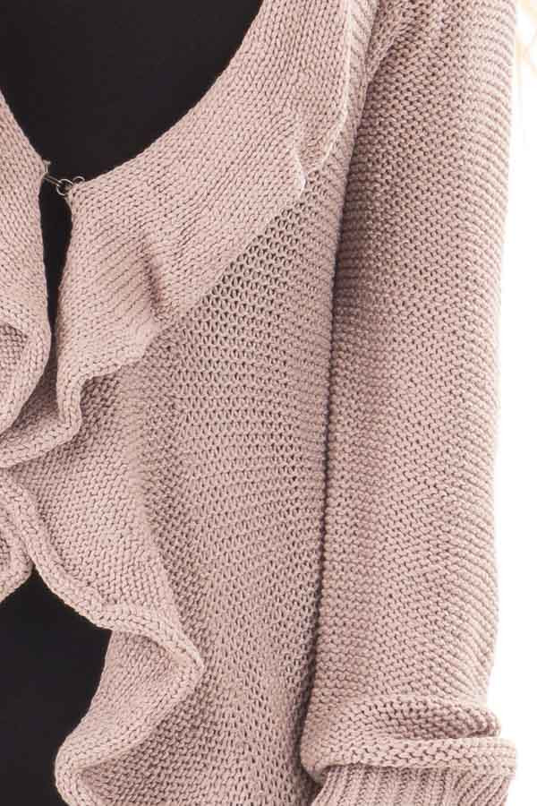 Dusty Mauve Draped Open Cardigan detail
