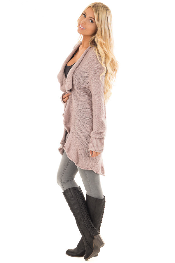 Dusty Mauve Draped Open Cardigan side full body