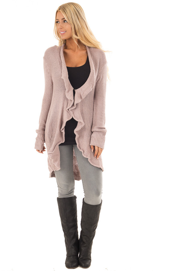 Dusty Mauve Draped Open Cardigan front full body