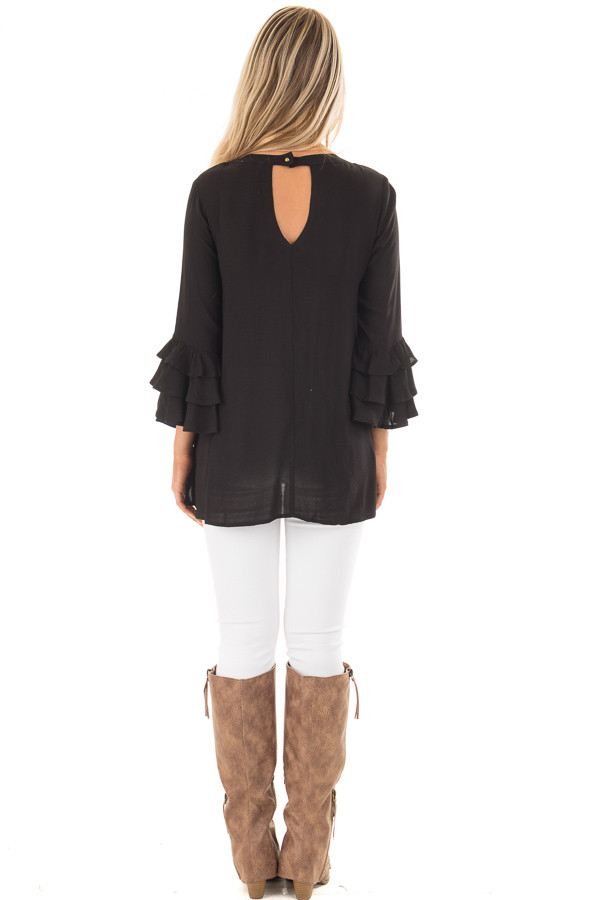 Black Tunic with Ruffle Bell Sleeves and Keyhole Neck back full body