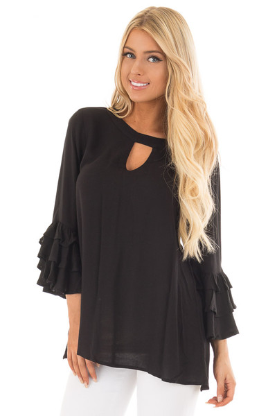 Black Tunic with Ruffle Bell Sleeves and Keyhole Neck front close up