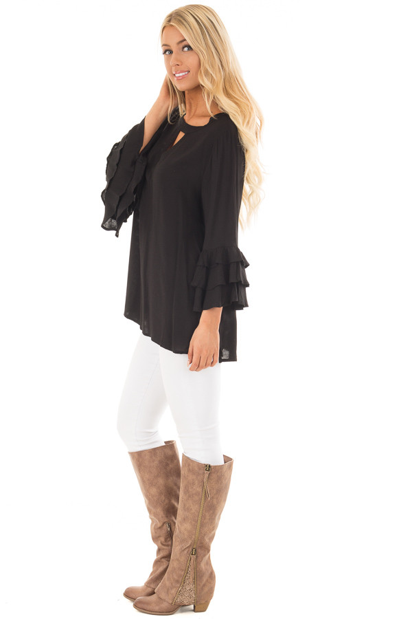 Black Tunic with Ruffle Bell Sleeves and Keyhole Neck side full body