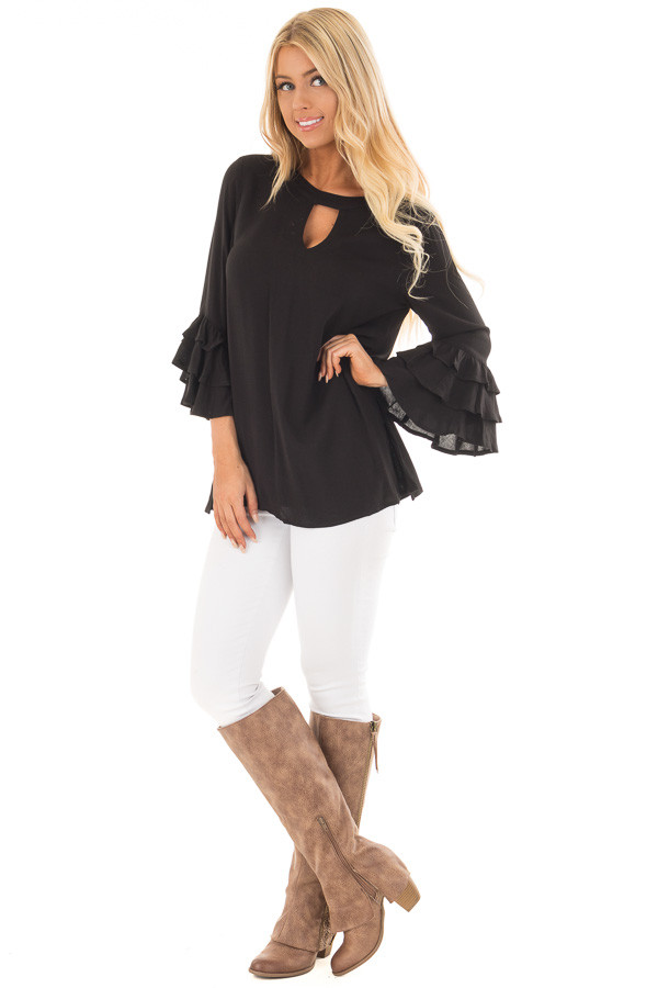 Black Tunic with Ruffle Bell Sleeves and Keyhole Neck front full body