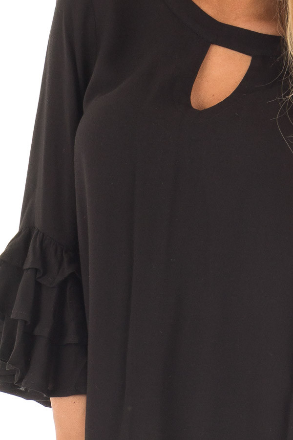 Black Tunic with Ruffle Bell Sleeves and Keyhole Neck detail