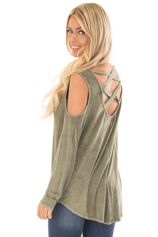 Olive Mineral Wash Cold Shoulder Top with Criss Cross Back back side close up