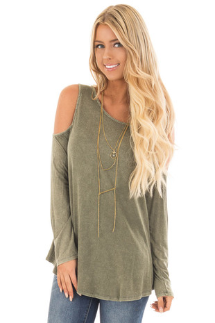 Olive Mineral Wash Cold Shoulder Top with Criss Cross Back front close up
