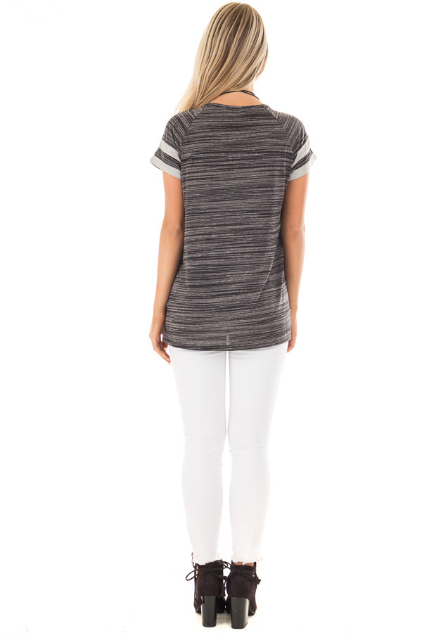Black Two Tone Tee with Grey Striped Sleeve Detail back full body