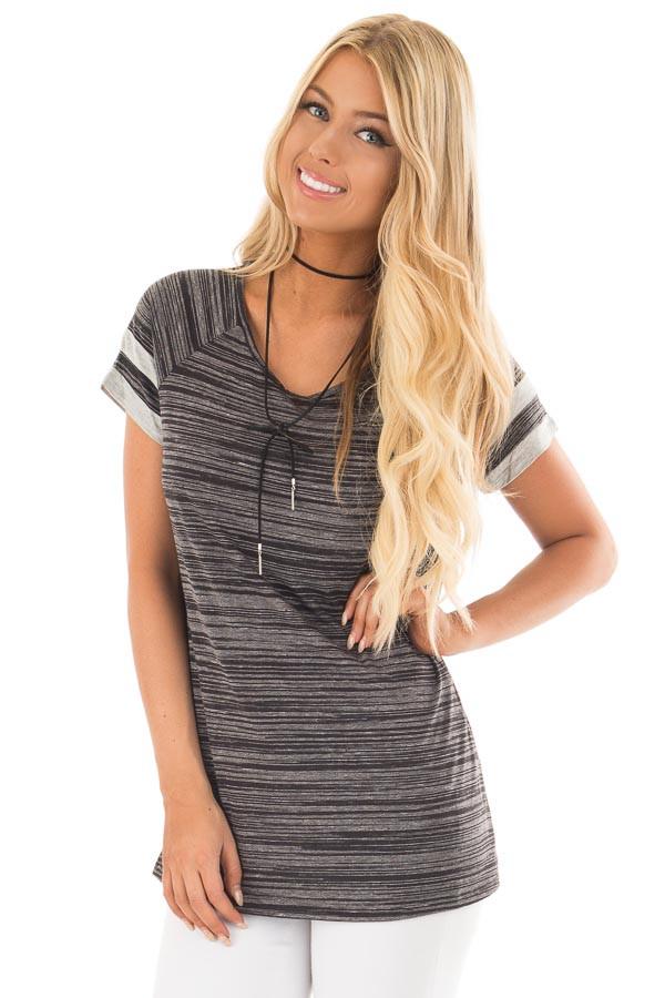 Black Two Tone Tee with Grey Striped Sleeve Detail front close up
