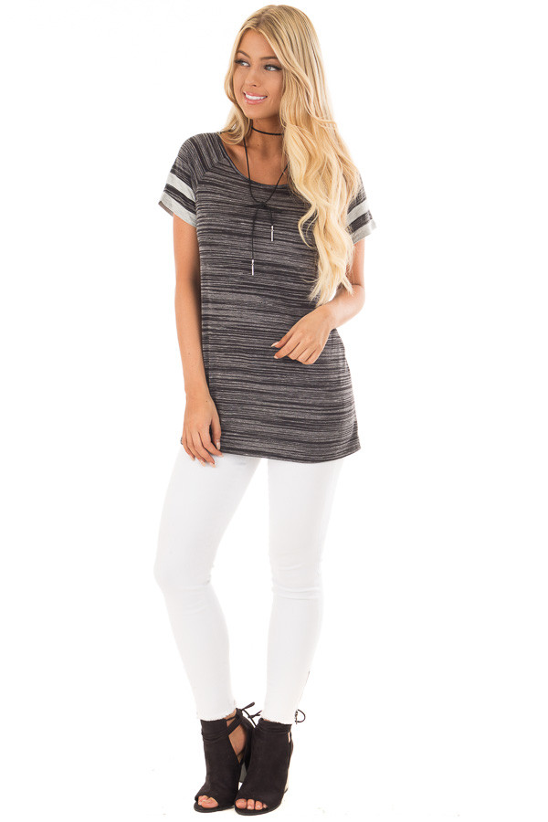Black Two Tone Tee with Grey Striped Sleeve Detail front full body