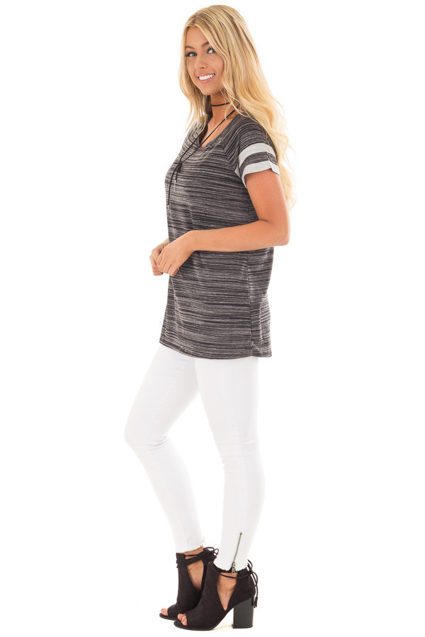 Black Two Tone Tee with Grey Striped Sleeve Detail side full body