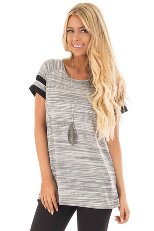 Heather Grey Two Tone Tee with Black Striped Sleeve Detail front full body