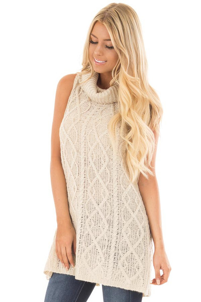 Cream Sleeveless Cowl Neck Sweater with Open Back front close up