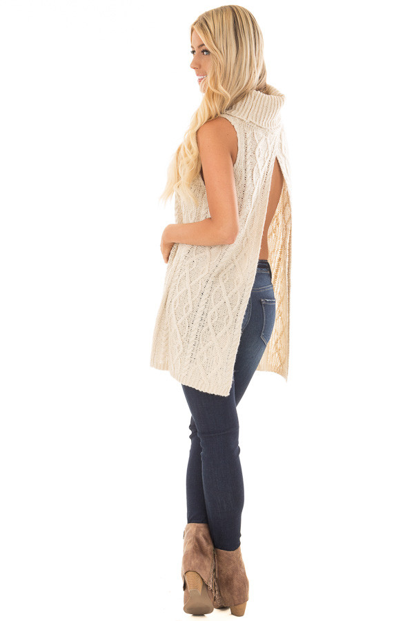 Cream Sleeveless Cowl Neck Sweater with Open Back back side full body