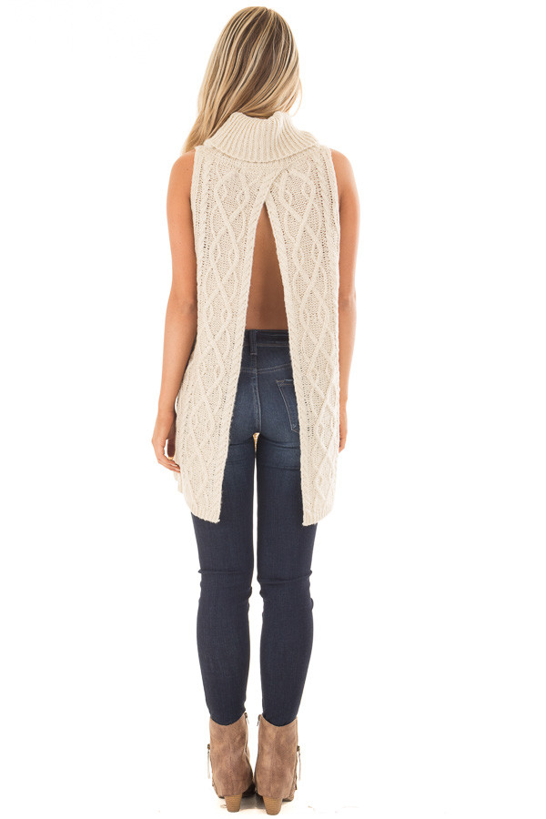Cream Sleeveless Cowl Neck Sweater with Open Back back full body