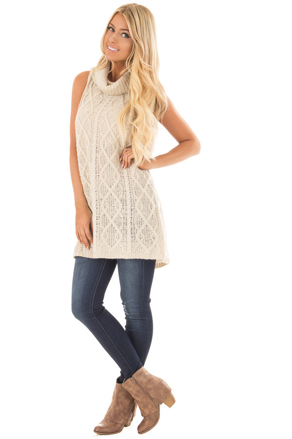 Cream Sleeveless Cowl Neck Sweater with Open Back front full body