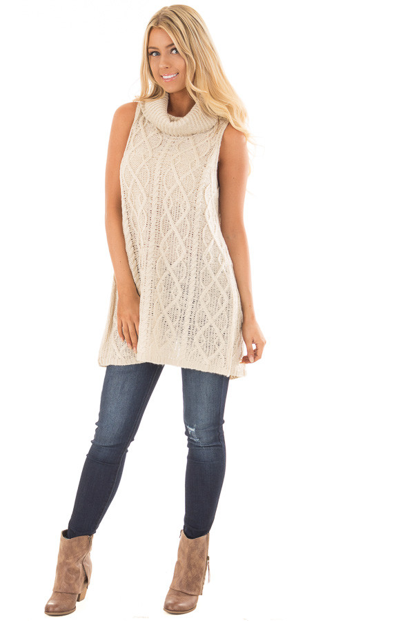 Cream Sleeveless Cowl Neck Sweater with Open Back - Lime Lush Boutique