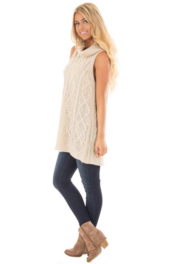 Cream Sleeveless Cowl Neck Sweater with Open Back side full body