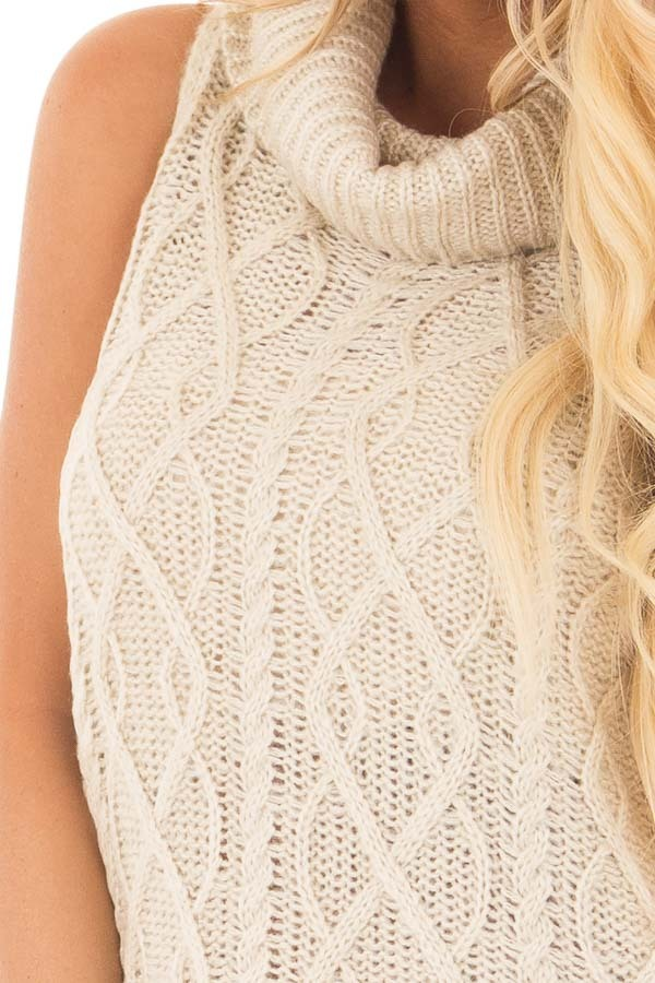Cream Sleeveless Cowl Neck Sweater with Open Back detail