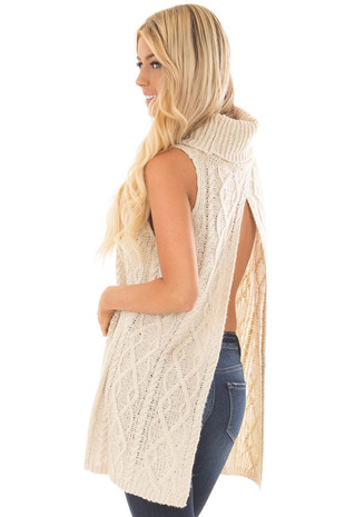 Cream Sleeveless Cowl Neck Sweater with Open Back