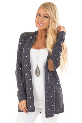 Navy Polka Dot Knit Open Cardigan with Elbow Patch Detail front close up