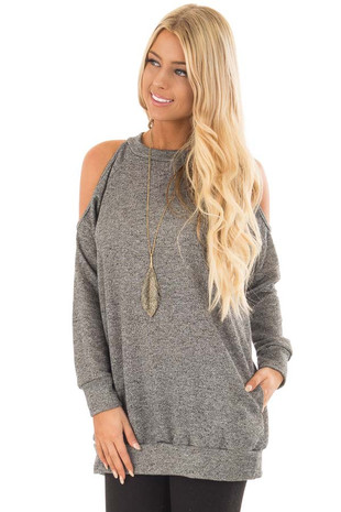 Charcoal Knit Top with Cut Out Sleeves and Hidden Pocket front close up