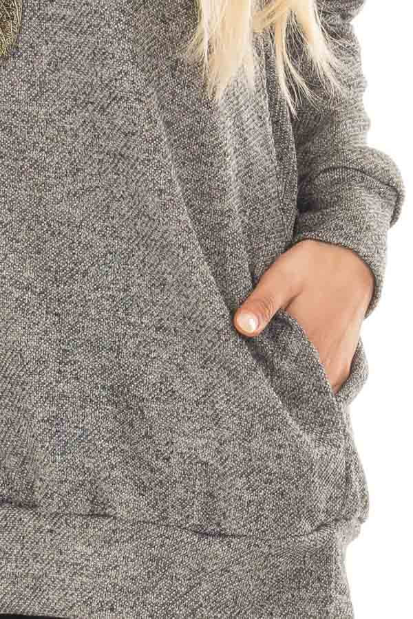 Charcoal Knit Top with Cut Out Sleeves and Hidden Pocket detail