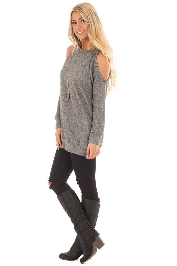Charcoal Knit Top with Cut Out Sleeves and Hidden Pocket side full body
