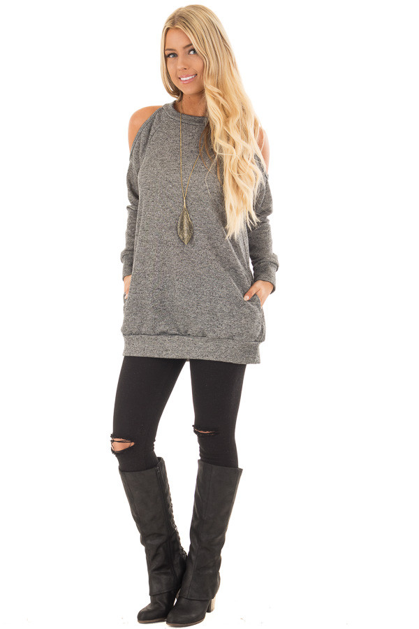 Charcoal Knit Top with Cut Out Sleeves and Hidden Pocket front full body