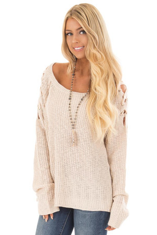 Oatmeal Sweater with Lace Up Cold Shoulders front close up