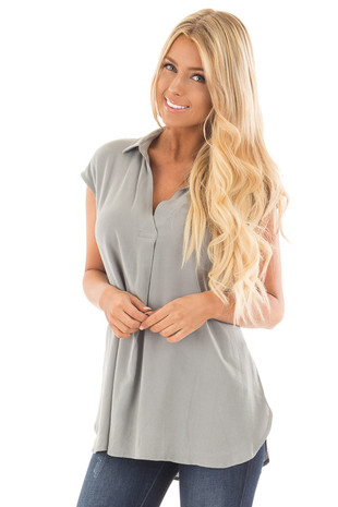 Dusty Sage V Neck Cap Sleeve Blouse front close up