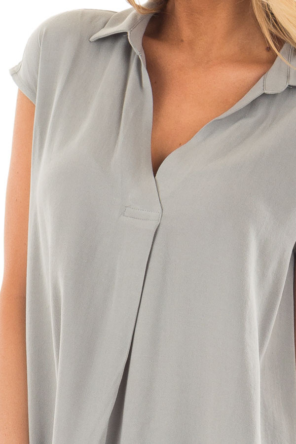 Dusty Sage V Neck Cap Sleeve Blouse detail