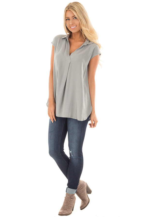 Dusty Sage V Neck Cap Sleeve Blouse front full body