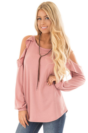 Mauve Ruffled Cold Shoulder Long Sleeve Top front close up