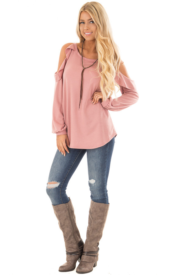 Mauve Ruffled Cold Shoulder Long Sleeve Top front full body