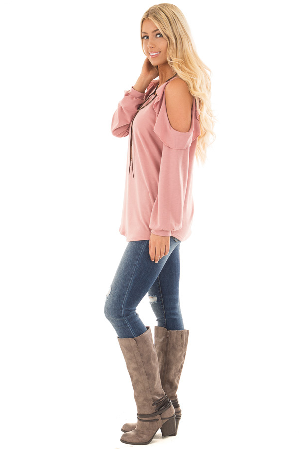 Mauve Ruffled Cold Shoulder Long Sleeve Top side full body