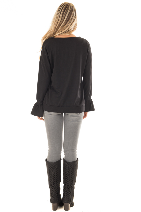 Black Crew Neck Sweatshirt with Long Sleeve Bell Cuffs back full body